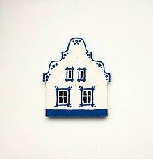 Magnetky - Maľovaný domček-modrý - 8968428_