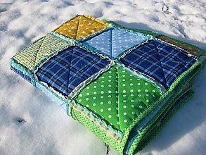 Úžitkový textil - modrozelený rag-quilt - 8967638_