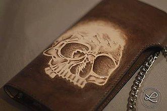 Peňaženky - Kožená peňaženka Biker - lebka motív - 8969319_