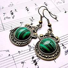 Náušnice - Ornaments & Gemstone Earrings / Bronzové náušnice s ornamentmi (Malachite / Malaachit) - 8970496_
