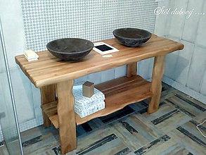 Nábytok - Stôl do kúpeľne pod dve umývadlá - DUBOVÝ, Natural - 8970893_