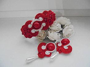 Sady šperkov - Soutache set Audrey (Červená) - 8970271_