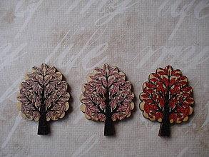 Galantéria - Gombík listnatý strom s lístočkami - 8971135_