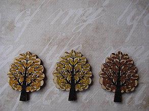 Galantéria - Gombík listnatý strom s lístočkami - 8971160_