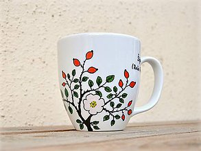 Nádoby - Maľované hrnčeky - Bylinky (Šípky (Ruža šípová)) - 8970696_