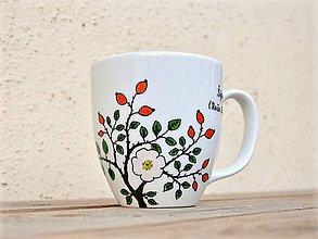 Nádoby - Maľovaný porcelánový hrnček - Bylinky (Šípky (Ruža šípová)) - 8970696_