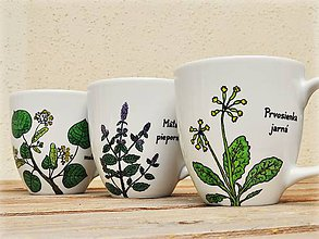 Nádoby - Maľovaný porcelánový hrnček - Bylinky (Prvosienka jarná) - 8970718_