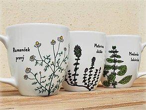 Nádoby - Maľovaný porcelánový hrnček - Bylinky (Medovka lekárska) - 8970733_