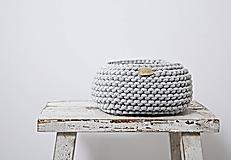 Košíky - Pletený košík - sivý (Veľ.: M, Priemer: 18 cm) - 8971553_
