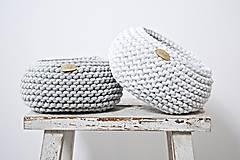 Košíky - Pletený košík - svetlosivý (Košík S) - 8971557_