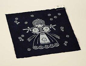 Materiál ručne robený - Plátenko modrotlač bábika - 8970336_