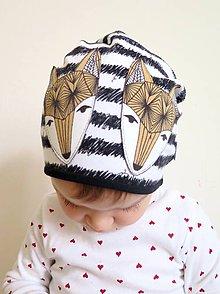 Detské čiapky - čiapka z biobavlny Líšky na prúžku - 8971880_