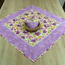 Úžitkový textil - Fialové poľné kvety - obrus štvorec 63x63 - 8972366_