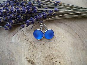 Náušnice - náušnice modré s mrazivým efektom-matné - 8972043_