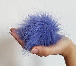 Materiál ručne robený - Kožušinový brmbolec modrý - 8974744_