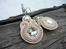 - Soutache náušnice Romantic Rose Pearl - 8974231_