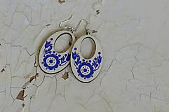 Náušnice - NA DREVE MAĽOVANÉ (Modrá) - 8975239_