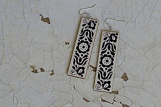 Náušnice - NA DREVE MAĽOVANÉ (Čierno-biela) - 8974707_