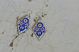 Náušnice - NA DREVE MAĽOVANÉ (Modrá) - 8975115_