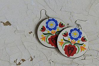 Náušnice - NA DREVE MAĽOVANÉ (Pestrofarebná) - 8975131_