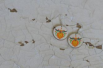 Náušnice - NA DREVE MAĽOVANÉ (Pestrofarebná) - 8975168_