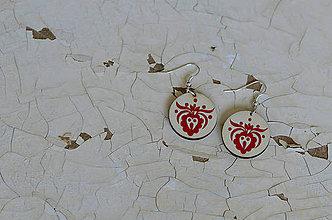 Náušnice - NA DREVE MAĽOVANÉ (Červená) - 8975175_