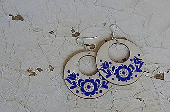 Náušnice - NA DREVE MAĽOVANÉ (Modrá) - 8975195_