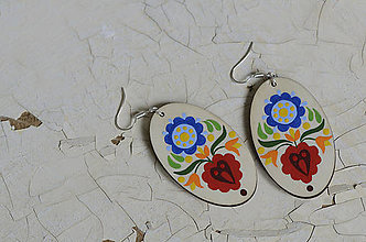 Náušnice - NA DREVE MAĽOVANÉ (Pestrofarebná) - 8975204_