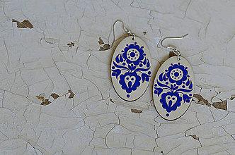 Náušnice - NA DREVE MAĽOVANÉ (Modrá) - 8975213_