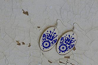 Náušnice - NA DREVE MAĽOVANÉ (Modrá) - 8975218_