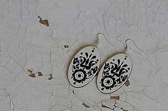 Náušnice - NA DREVE MAĽOVANÉ (Čierno-biela) - 8975220_