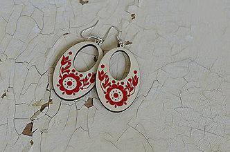 Náušnice - NA DREVE MAĽOVANÉ (Červená) - 8975240_