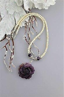 Náhrdelníky - Luxusný náhrdelník pravé perly, fluorit, ametyst a striebro - 8974553_
