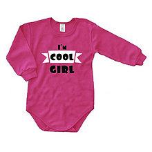 Detské oblečenie - I'm cool girl - detské body - 8974984_