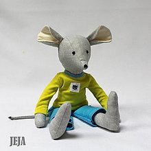 Hračky - Myšiak v žltom tričku s mačičkou - 8975081_