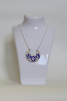 Náhrdelníky - DREVENÝ NÁHRDELNÍK (Modrá) - 8976185_