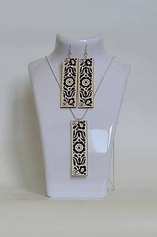 Sady šperkov - NA DREVE MAĽOVANÉ /sada (Čierno-biela) - 8976198_