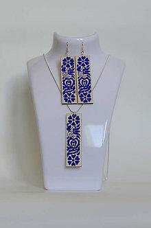 Sady šperkov - NA DREVE MAĽOVANÉ /sada (Modrá) - 8976206_