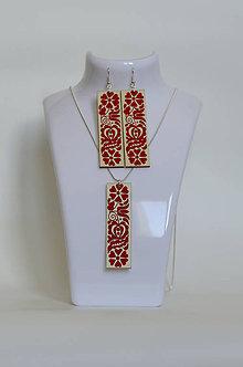 Sady šperkov - NA DREVE MAĽOVANÉ /sada (Červená) - 8976207_