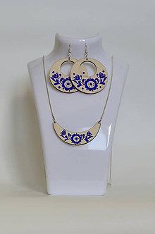 Sady šperkov - NA DREVE MAĽOVANÉ /sada (Modrá) - 8976213_