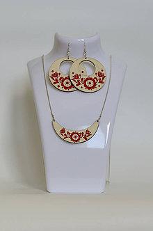 Sady šperkov - NA DREVE MAĽOVANÉ /sada (Červená) - 8976214_