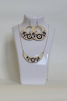 Sady šperkov - NA DREVE MAĽOVANÉ /sada (Čierno-biela) - 8976215_
