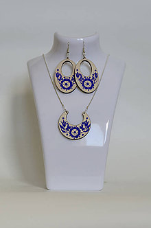 Sady šperkov - NA DREVE MAĽOVANÉ /sada (Modrá) - 8976220_