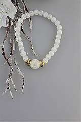Náramky - Striebrozlatý krištálový náramok zimný - 8977705_