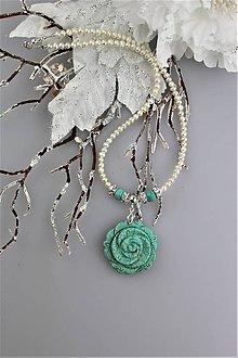 """Náhrdelníky - Luxusný náhrdelník z pravých perál, striebra a """"tyrkysu"""" - 8975956_"""