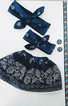 Detské oblečenie - Set sukňa folk s čelenkou modrá - 8978405_