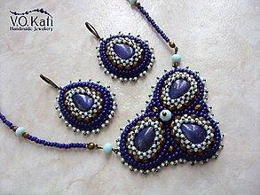 Sady šperkov - Sirrah - Lapis lazuli, bead embroidery - 8979383_