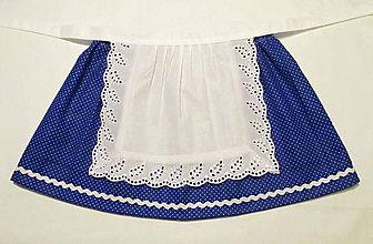 Detské oblečenie - folklórna sukňa so zásterkou (modrá dĺžka 24 cm) - 8978709_
