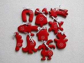 Dekorácie - Vianočné medovníky na stromček (Červená) - 8979547_