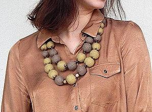 Náhrdelníky - Plstený náhrdelník kaki vlna s02 - 8979592_